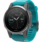 Спортивные часы Garmin fenix 5S Silver with Turquoise Band