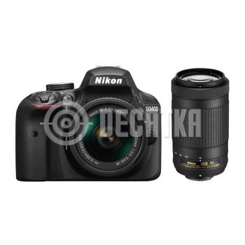 Зеркальный фотоаппарат Nikon D3400 kit (18-55 + 70-300)