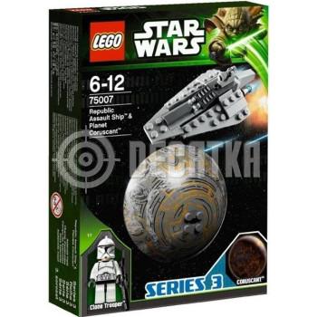 Классический конструктор LEGO Star Wars Республиканский боевой корабль и планета Корусант (75007)