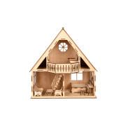 """Дерев'яний іграшковий ляльковий будинок з балконом """"COUNTRY HOUSE"""" 47*51*38 см"""